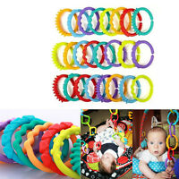 24Pcs/set Baby Teether Toy Rattle Colorful Molars Rings Crib Bed Stroller Gifts