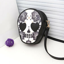 Women Gothic Skull Handbag Purse Messenger Packet Rose One Shoulder Bag Cases