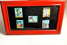 VINTAGE DISNEY FRAMED POSTAGE STAMP COLLECTION - Unused Mickey, Goofy, Pluto