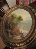 ANTIQUE OVAL REVERSE PAINTING MAN FISHING