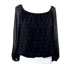 Vince Camuto Elastic hem Studded Sheer Black Blouse M Long sleeve NWT $100