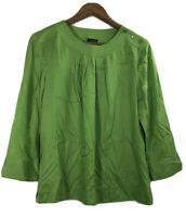 Talbots Women's Size 12 Green blouse top shirt 3/4 sleeve Lyocell Tencel