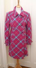 Ness Trinity women's warm pink pure wool tartan plaid check coat uk 12