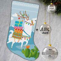 Llama - Deer Christmas stocking - Embroidery Cross stitch PDF Pattern - 092
