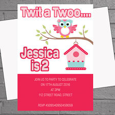 Personalised Girls Twit a Twoo 2nd Birthday Party Invitations x 12 inc env H0047