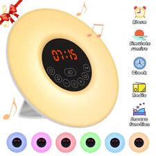 LED USB Sunrise Alarm Clock Wake-Up Light FM Radio Music Bedside Night Lamp TOP