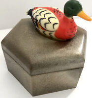Vintage Plastic Hexagon Shaped Trinket Box With A Duck On The Lid Hong Kong
