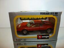 BBURAGO 0133 FERRARI 512 BB - RED 1:24  - GOOD CONDITION IN BOX