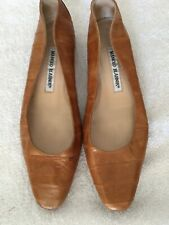 Manolo Blahnik brown leather flats.  Size 36