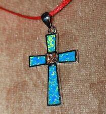 fire opal topaz necklace pendant gems silver jewelry Medieval Renaissance Cross