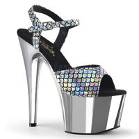 Pleaser ADORE-709MSC Women's Silver Hologram Chrome Heels Platform Strap Sandals