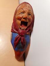 Casse noix noisette ancien bois sculpté polychrome tete femme art populaire