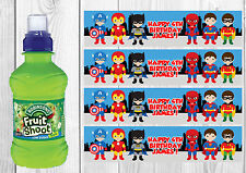 6 Superhero Personalised Fruit Shoot Bottle Wrappers Party Favour