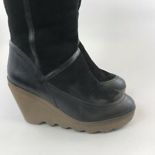 ASH Size 37 UK4 Black Leather Suede Mid Calf Pull On Wedge Heels Shearling Boots
