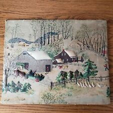 Vintage Grandma Moses Art on Fabric Springtime on the Farm Stretch Wood Mounted
