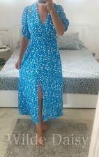 ZARA NEW BLUE FLORAL PRINT MAXI DRESS PUFF SLEEVES V-NECK ELASTIC SIZE XS-XXL