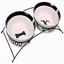Trixie 2 Raised Ceramic Dog Bowls Dish Eat on Feet Set Black White 24641