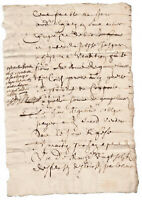 c1500 manuscript document oncial writting DAMAGED authentic ORIGINAL