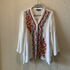 andree by unit, white with colorful embroidery long sleeve tunic, L