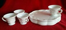 Vintage Milk Glass Snack Trays Plates Cups Grape Leaf Pattern White Wedding 8 Pc