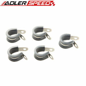 """5PCS 1"""" inch 304 Stainless Steel Cushioned Hose Mounting Clamp Loop Strap Black"""