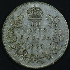 1933 Canada 10 Cents Silver Dime