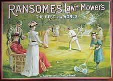 5 Antique Vintage Advertising Posters Ransomes' Lawnmowers Tennis Collectable