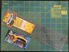 OLFA SET CUTTING MAT 24'' X 18' +ROTARY CUTTER RTY-2/DX & FROSTED RULER 6''X24''