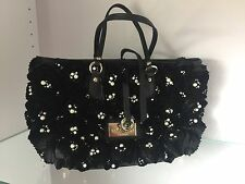 VALENTINO black Silk Rosette / Pearl Small Shopper Handbag