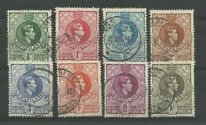 SWAZILAND 1938 part Set to 1/-, 8 of 11 Sg 28/35 perf 13.5 x 13, F/U. {Box 5-18}