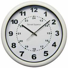 White Stewart Superior 40cm 12hr / 24hr Quartz Wall clock