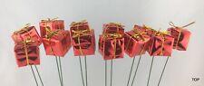12er Set Päckchen am Draht 2,5 cm Rot Weihnachten Deko Floristik