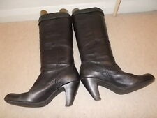 Black Soft Leather Boots - Size 4 (37) - Just Below Knee