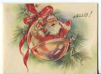 VINTAGE CHRISTMAS DIE CUT SANTA CLAUS ORNAMENT PINE WHITE BERRIES GREETING CARD