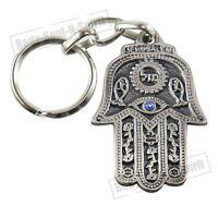 """Mazal"" Lucky Hamsa Key Chain Ring EVIL EYE Jewish Judaica Amulet Hebrew Pendant"