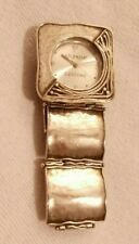 """Hammered Wristwatch 7"""" Retired Working Sterling Silver .925 Silpada T1372 Square"""
