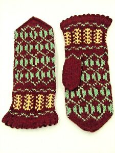 LATVIAN New Hand Knit 100% Wool Mittens Womens  Burgundy, Green and Yellow Gift
