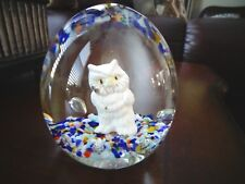"1985 Gibson Art Glass SULFIDE OWL Paperweight Large 3.25"" Tall x 3"""