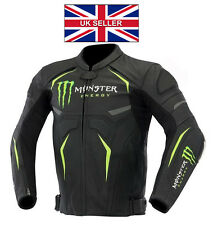 MONSTER ENERGY MEN MOTORCYCLE MOTORBIKE COWHIDE LEATHER RACING JACKET ALL SIZES