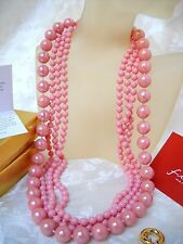 TWISTED MAJORCA/MALLORCA PEARL NECKLACE PINK OPAL GOLD FILL CLASP faux majorica