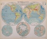 1889 Landkarte Welt Wester & Ost Hemispheres Wasser & Land Afrika Europa Asien