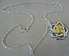& Goldtone Pendant Necklace #1 Vintage Costume Jewellery - 3x3cm Silvertone