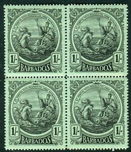 BARBADOS-1916-19 1/- Black/Green A mint block of 4 (lower stamps U/M) Sg 189