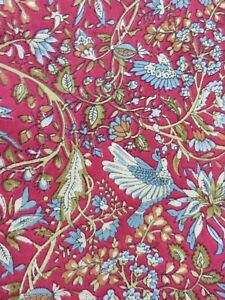 """6 Pottery Barn red bird flower place mat 100% Cotton 14x20"""" Made in India"""
