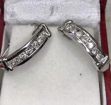 10k Solid White Gold Natural Diamond huggie hoop earring 1.00ct April Birthstone