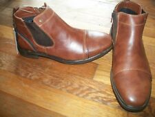 nwt mens sonoma ensemble ankle boots size 8.5 tan/brown cushioned footbed/zip up