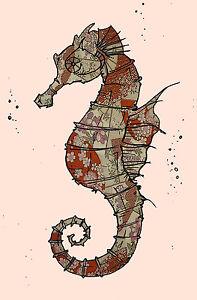 Seahorse Sea Ocean Seascape Vintage Art Deco Poster print