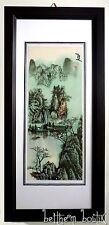 Asie : Grand TABLEAU Peinture Rectangulaire Vertical Asiatique Chinois Paysage 2