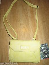 NEW ROXY Crossbody Mini HANDBAG HOBO PURSE VEGAN BAG Lightning Yellow