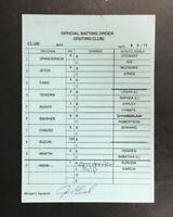 2012 Joe Girardi New York Yankees Game Used MLB Umpire Lineup Card Jeter Ichiro